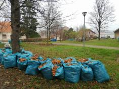 Jesenné upratovanie lístia na cintoríne a v okolí kostola